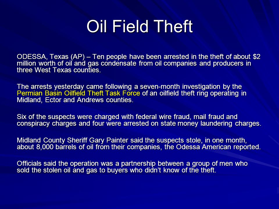 Oil Field Theft