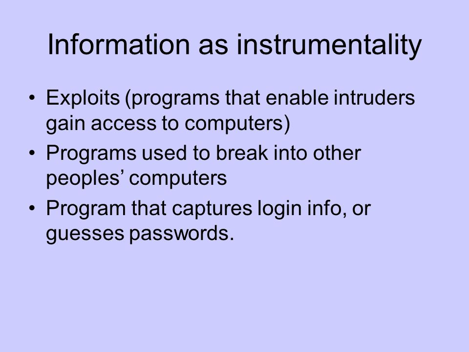 Information as instrumentality