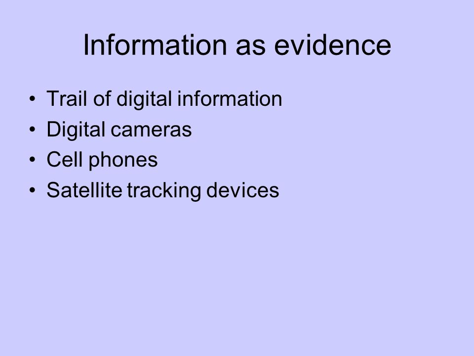Information as evidence