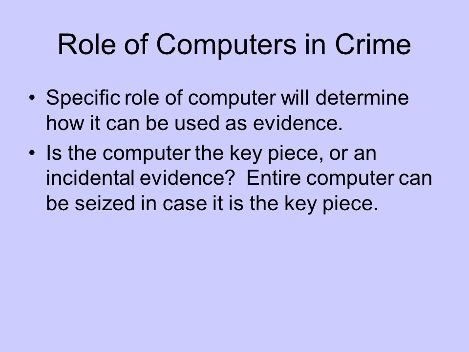 Role of Computers in Crime