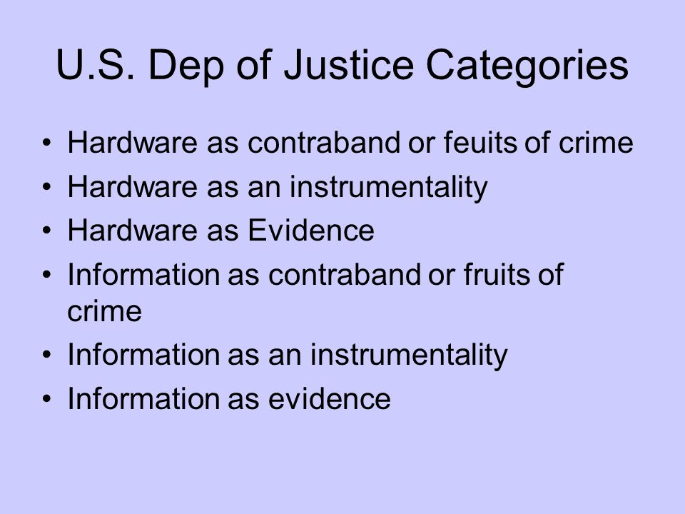 U.S. Dep of Justice Categories