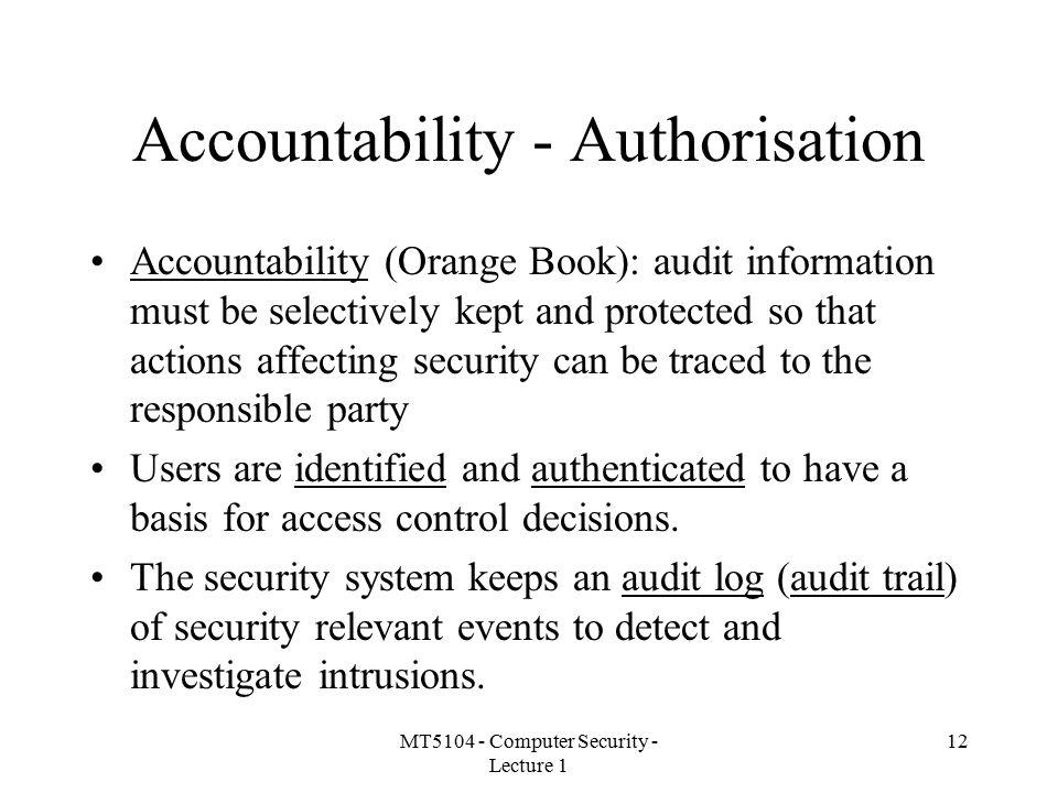 Accountability - Authorisation