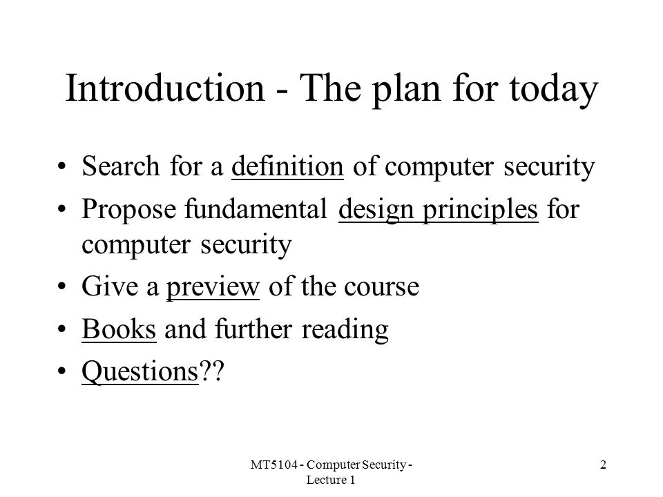 Introduction - The plan for today