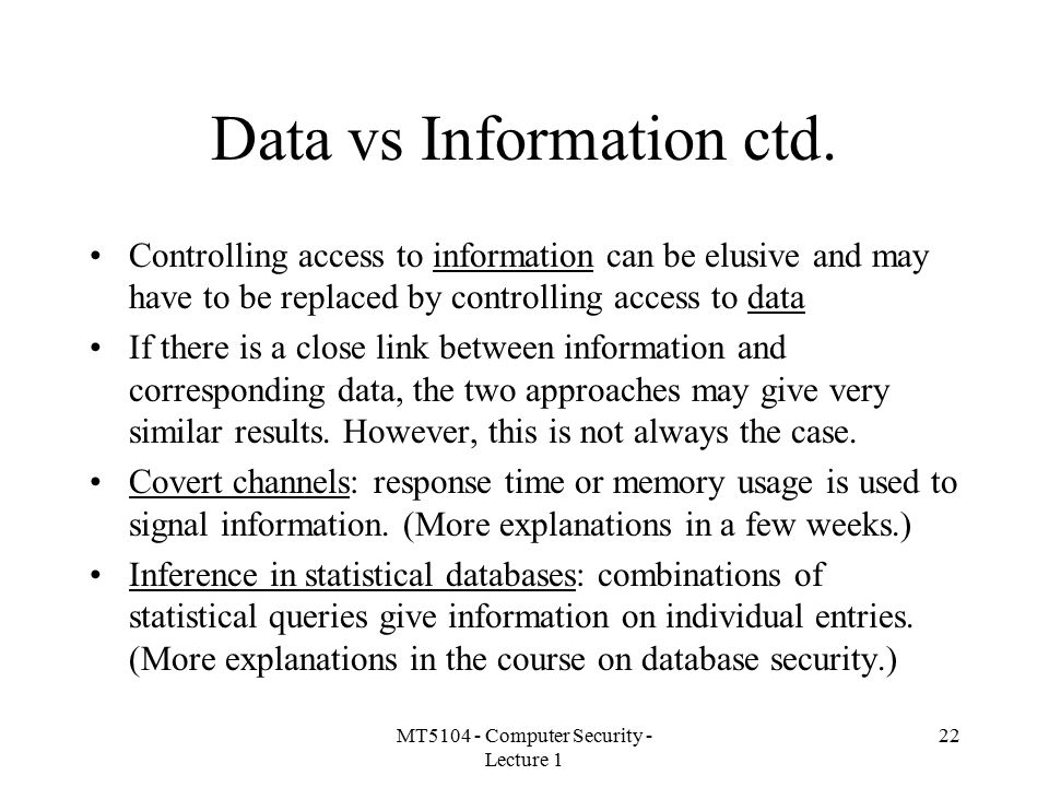 Data vs Information ctd.