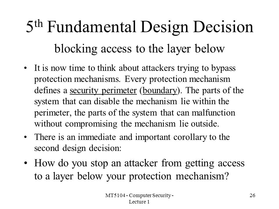 5th Fundamental Design Decision blocking access to the layer below