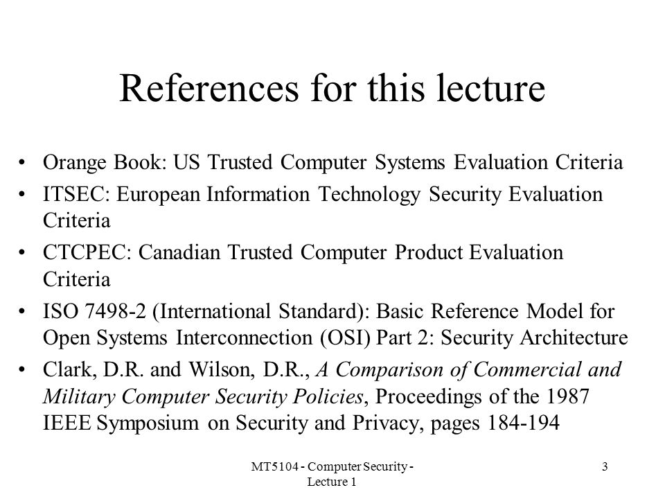 References for this lecture