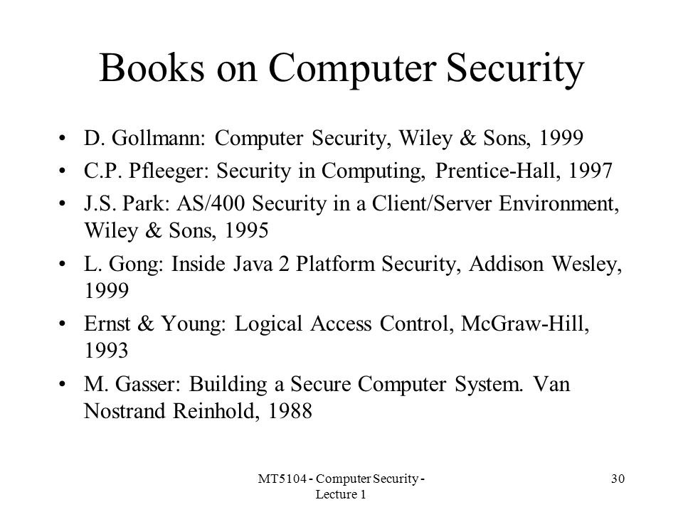 Books on Computer Security