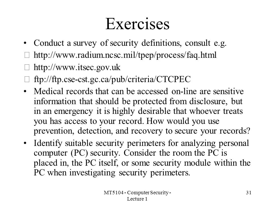 MT5104 - Computer Security - Lecture 1