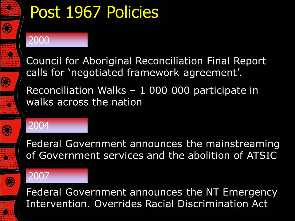 Post 1967 Policies 2000. Council for Aboriginal Reconciliation Final Report calls for 'negotiated framework agreement'.