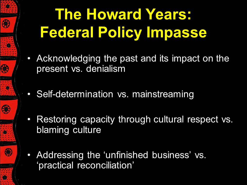 The Howard Years: Federal Policy Impasse