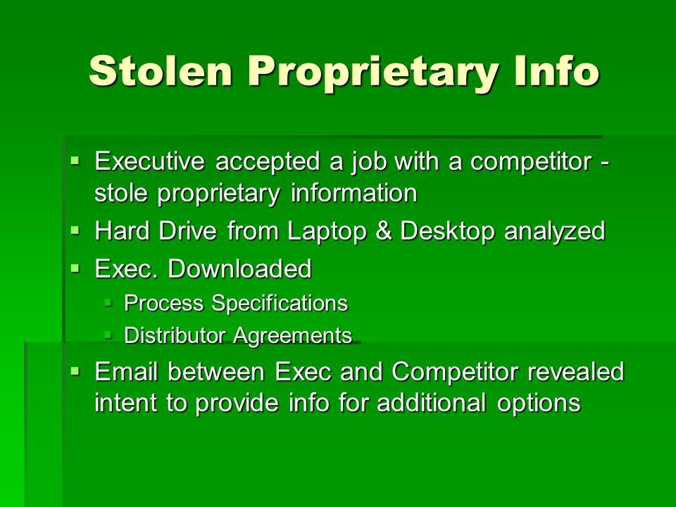 Stolen Proprietary Info