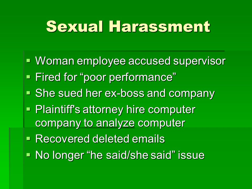 Sexual Harassment Woman employee accused supervisor