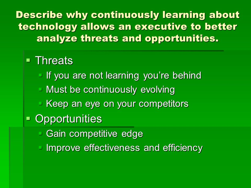 Threats Opportunities