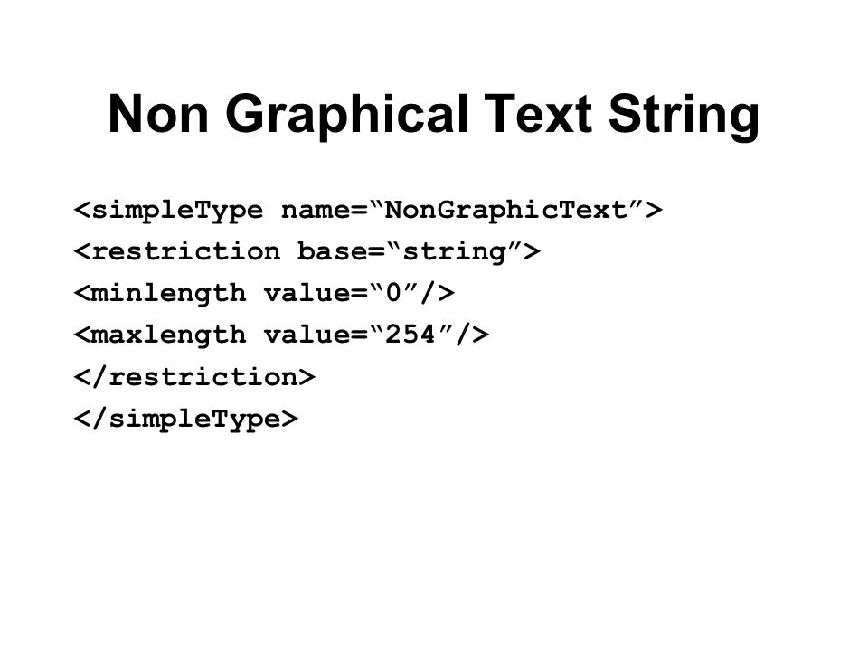 Non Graphical Text String