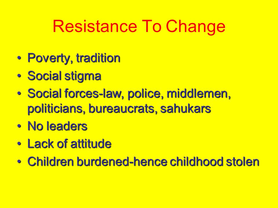 Resistance To Change Poverty, tradition Social stigma