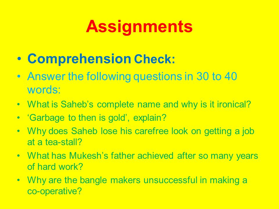 Assignments Comprehension Check: