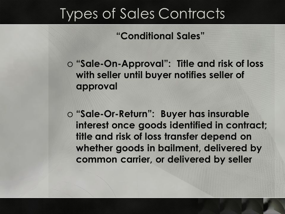Types of Sales Contracts