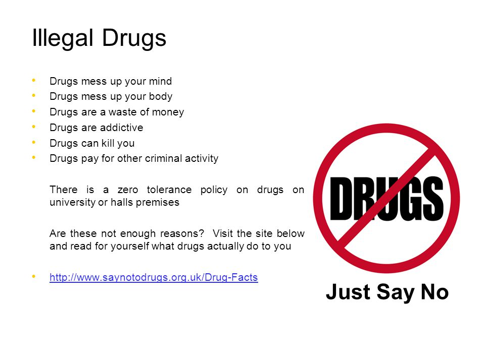 Illegal Drugs Just Say No Drugs mess up your mind