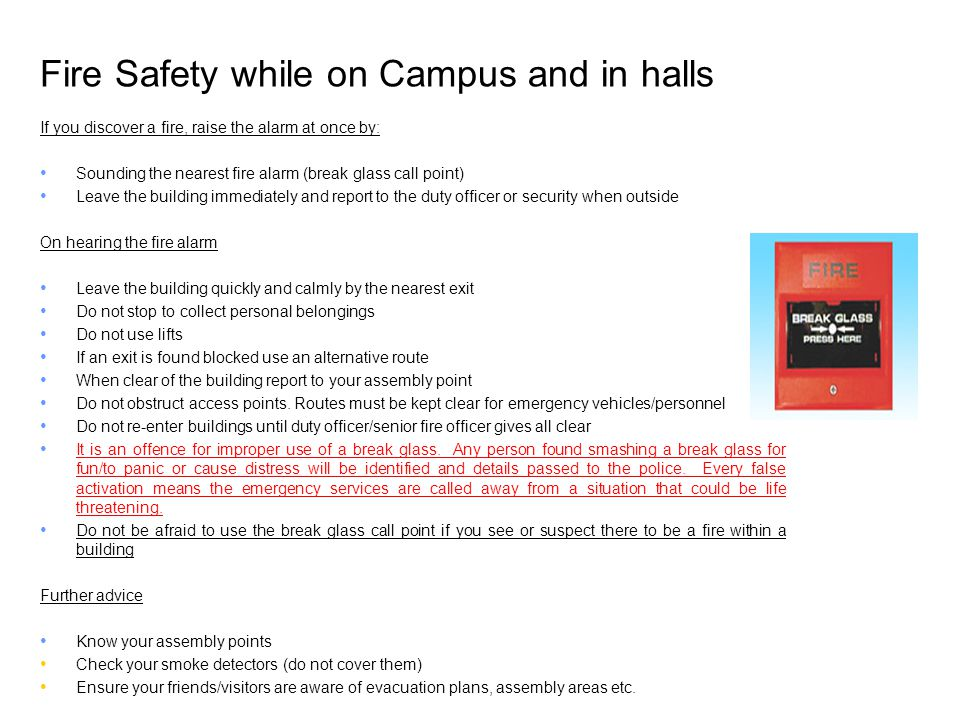 Fire Safety while on Campus and in halls