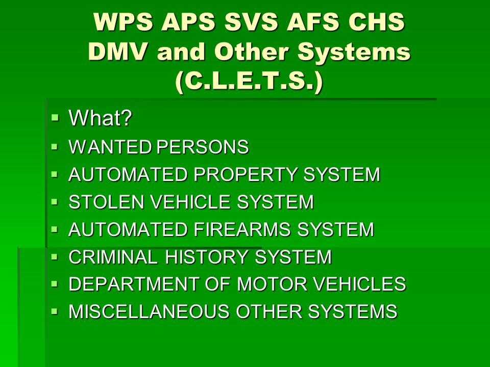 WPS APS SVS AFS CHS DMV and Other Systems (C.L.E.T.S.)