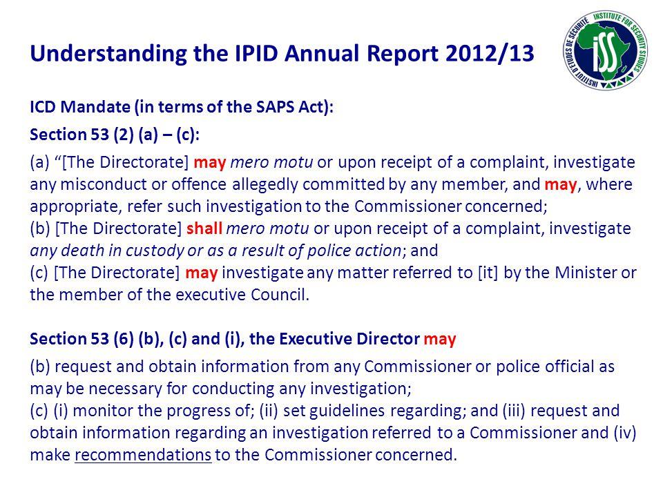 Understanding the IPID Annual Report 2012/13