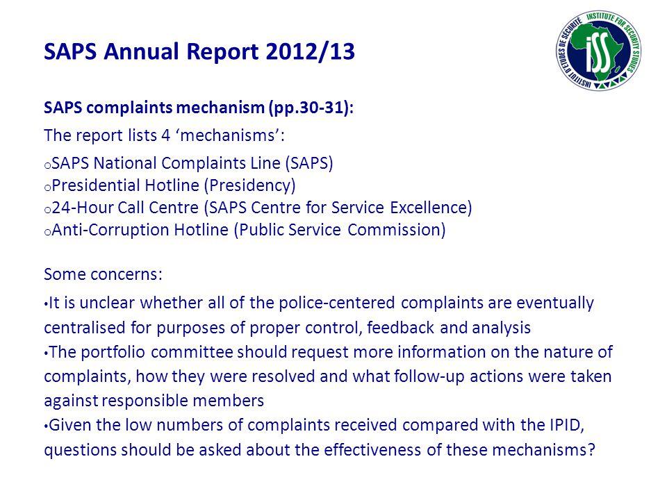 SAPS Annual Report 2012/13 SAPS complaints mechanism (pp.30-31):
