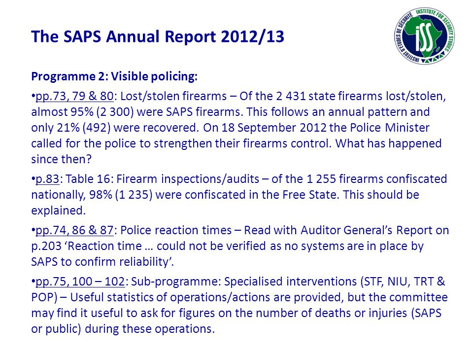 The SAPS Annual Report 2012/13