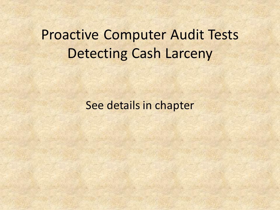 Proactive Computer Audit Tests Detecting Cash Larceny