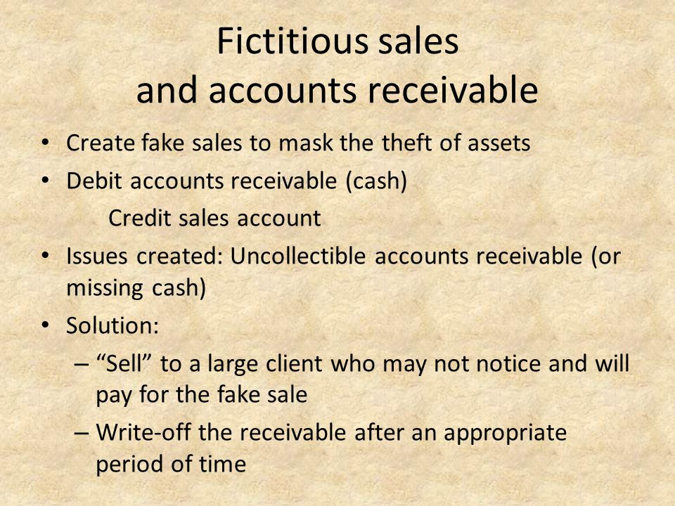 Fictitious sales and accounts receivable