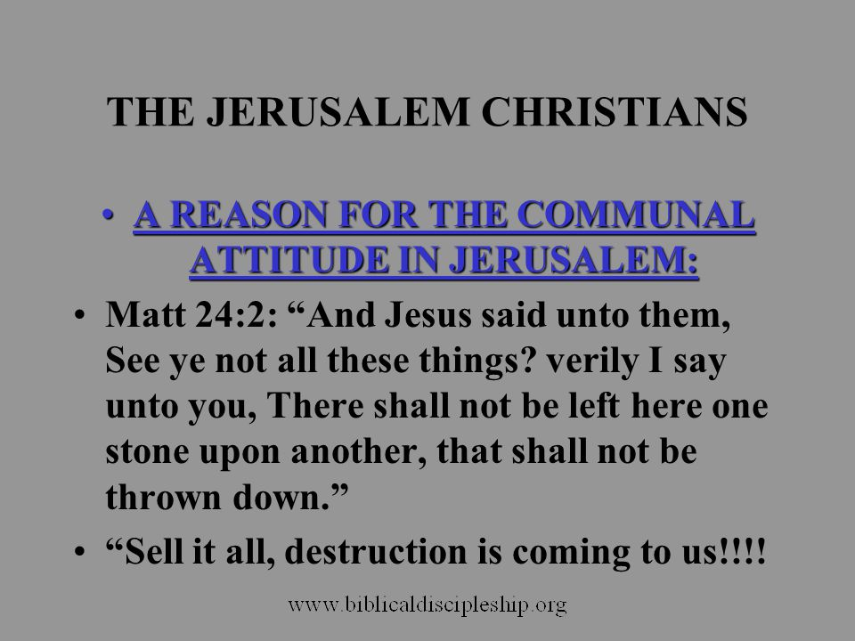 THE JERUSALEM CHRISTIANS