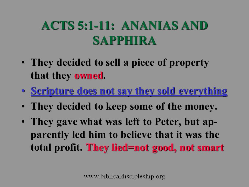 ACTS 5:1-11: ANANIAS AND SAPPHIRA