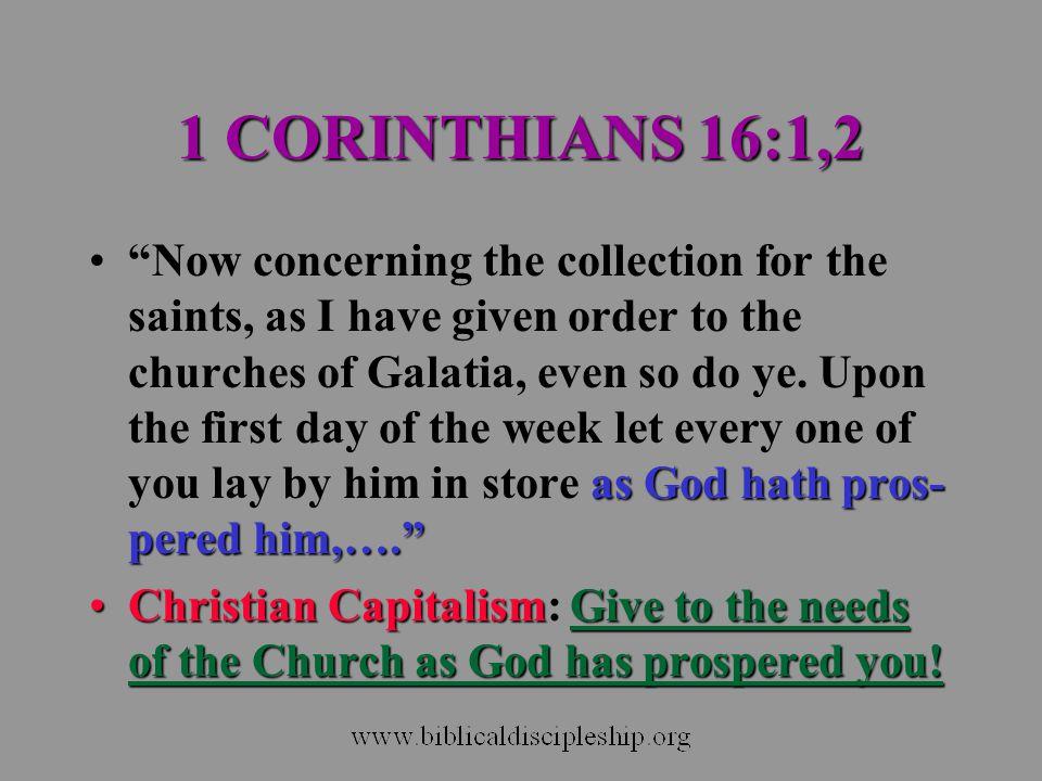 1 CORINTHIANS 16:1,2