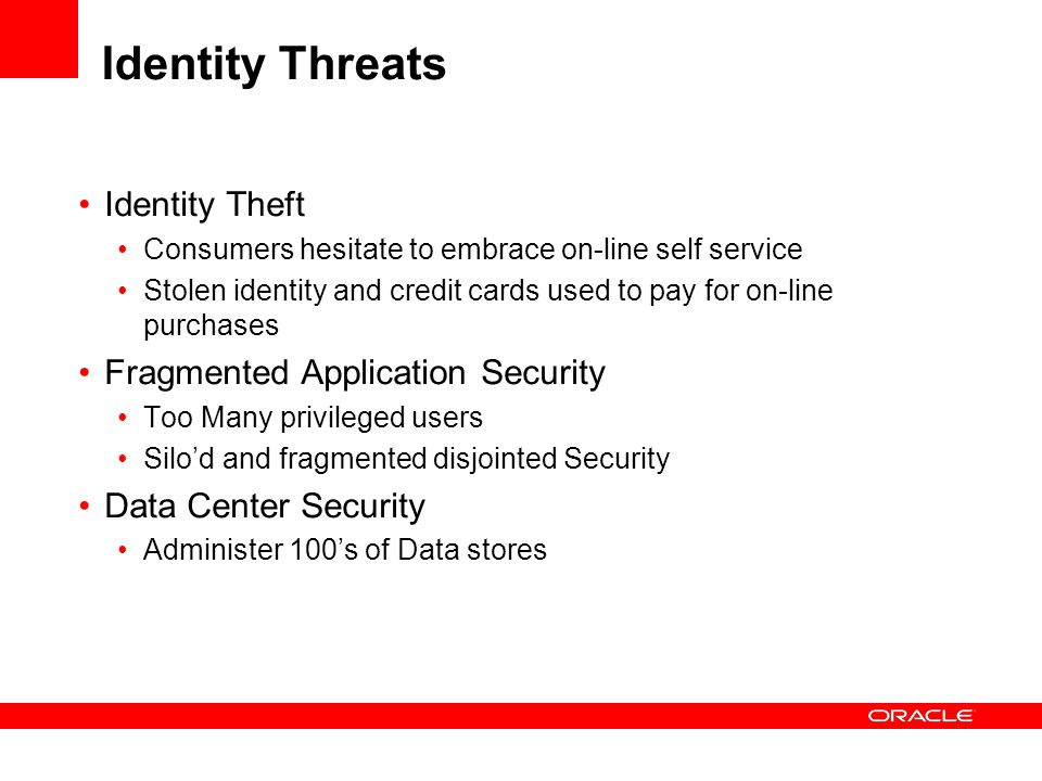 Identity Threats Identity Theft Fragmented Application Security