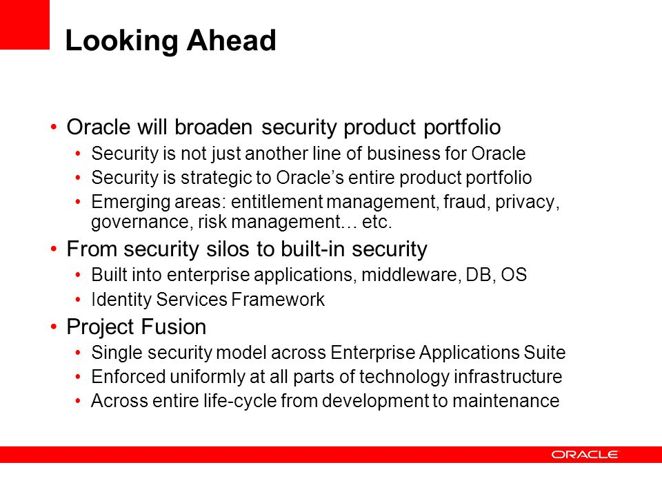 Looking Ahead Oracle will broaden security product portfolio