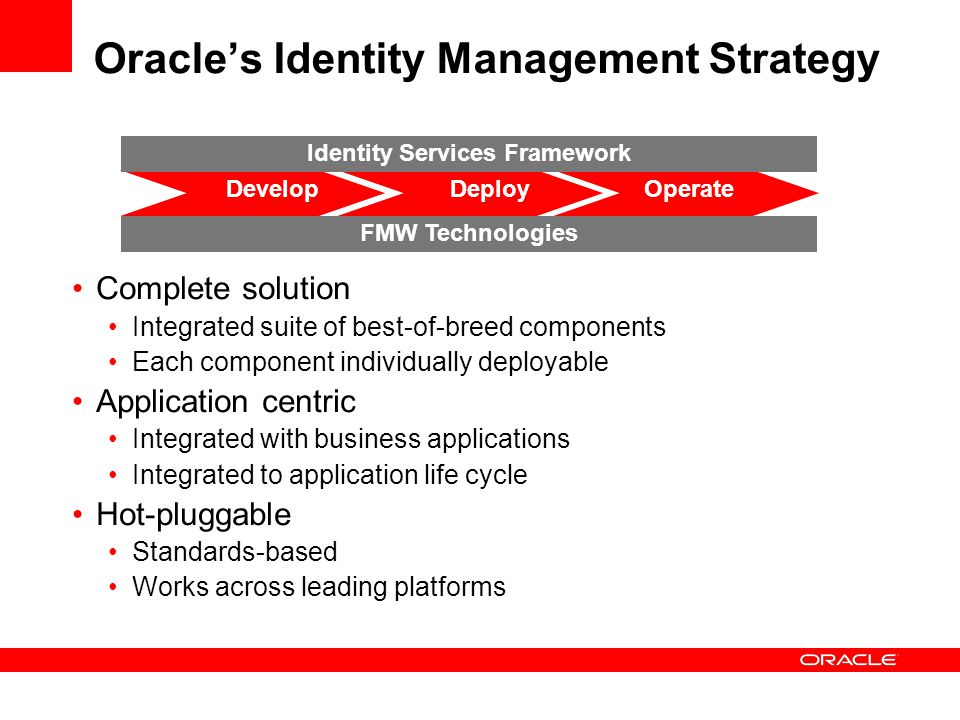 Oracle's Identity Management Strategy