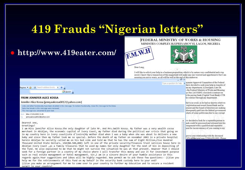 419 Frauds Nigerian letters