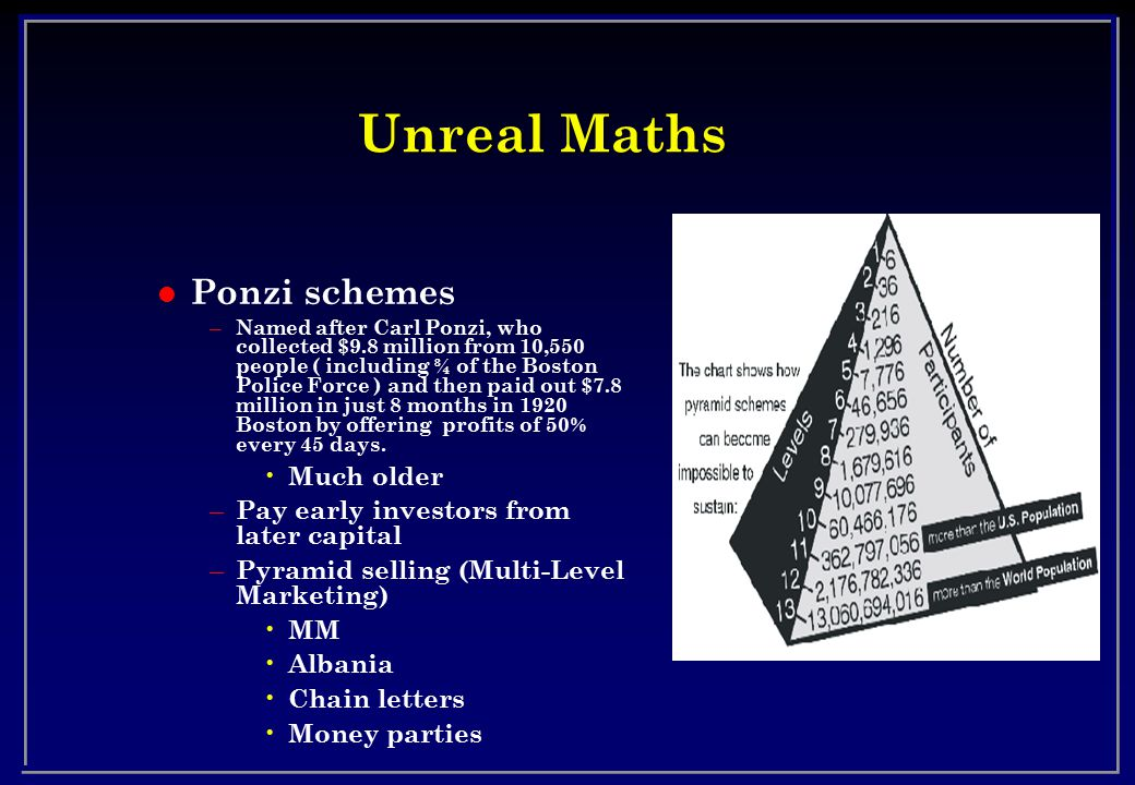 Unreal Maths Ponzi schemes Much older