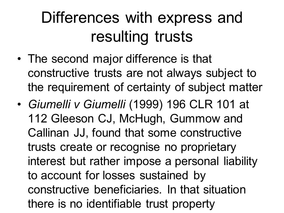 Differences with express and resulting trusts