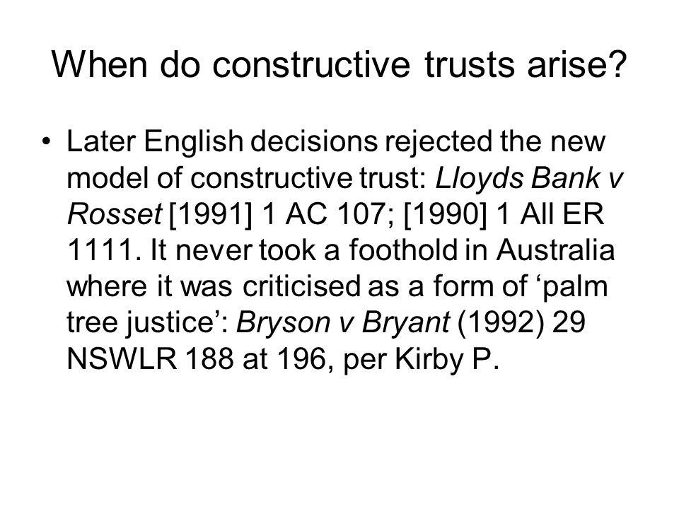When do constructive trusts arise