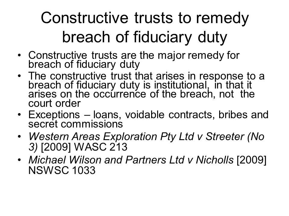 Constructive trusts to remedy breach of fiduciary duty