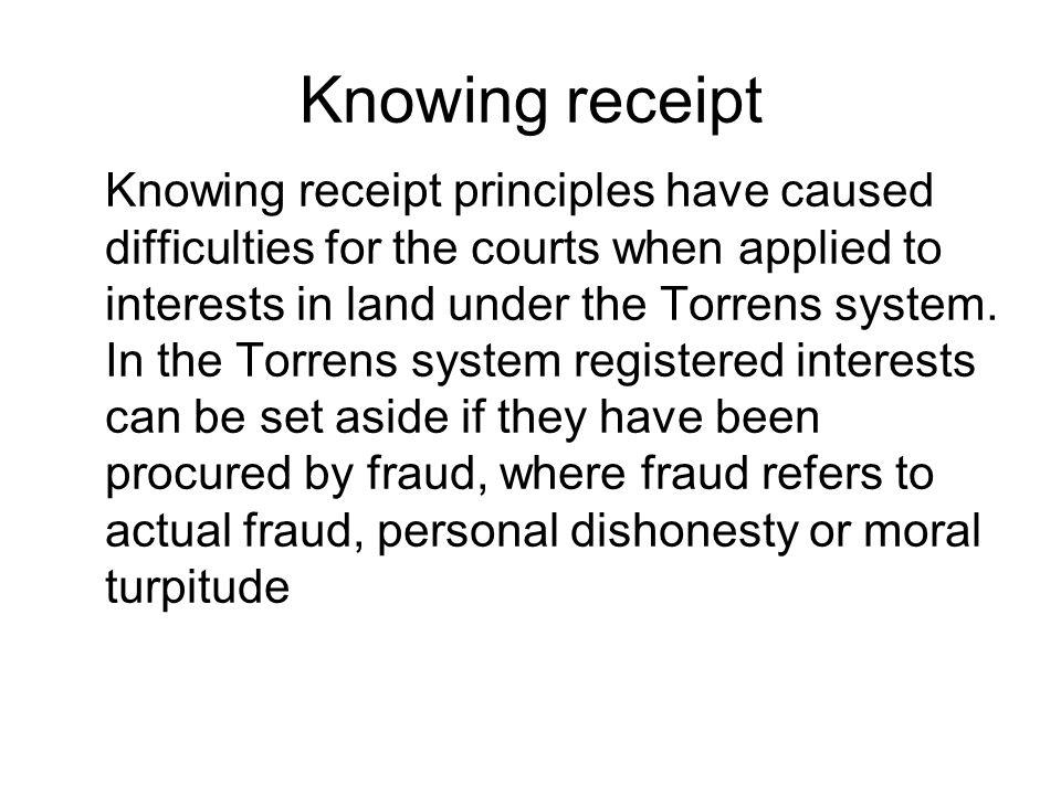 Knowing receipt