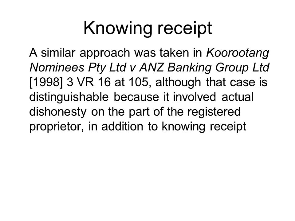 Knowing receipt