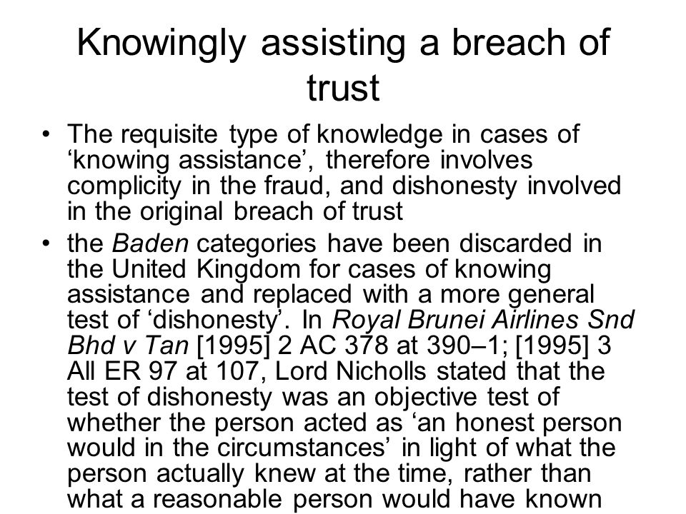 Knowingly assisting a breach of trust