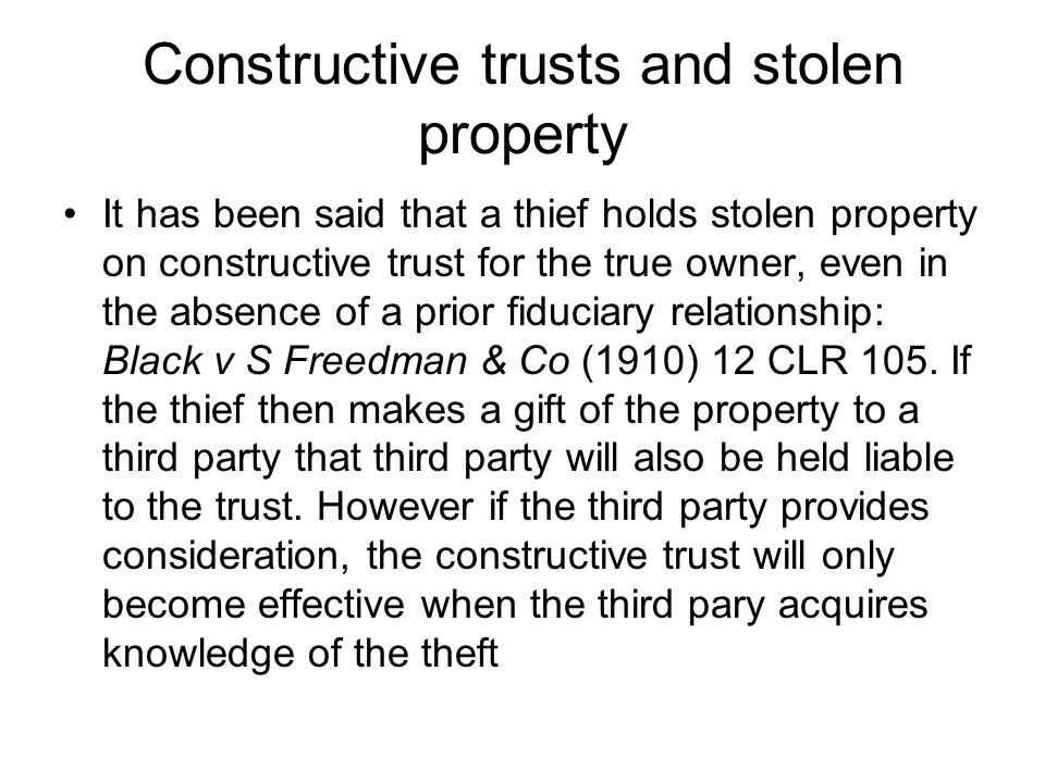 Constructive trusts and stolen property