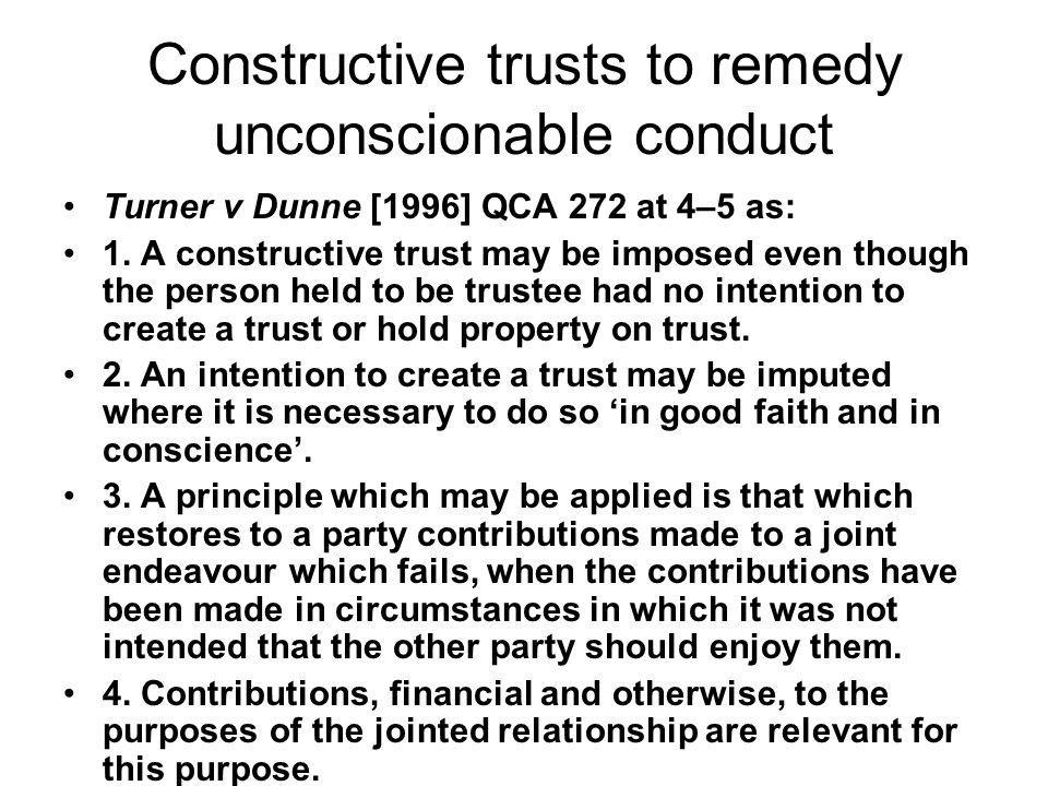 Constructive trusts to remedy unconscionable conduct