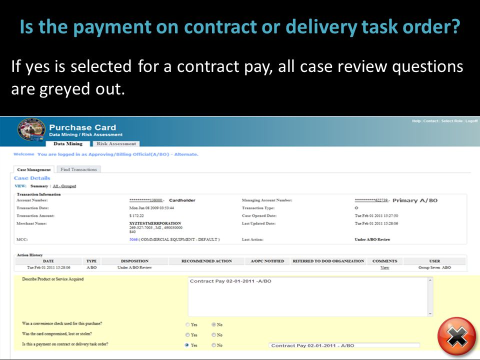 Is the payment on contract or delivery task order