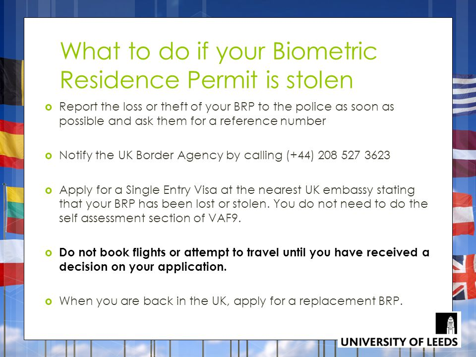 What to do if your Biometric Residence Permit is stolen