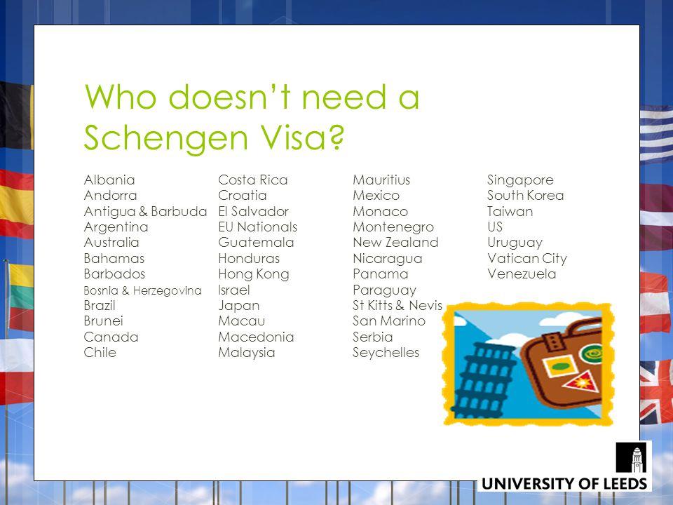Who doesn't need a Schengen Visa