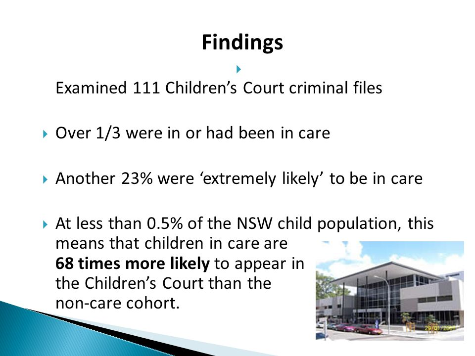 Findings Examined 111 Children's Court criminal files