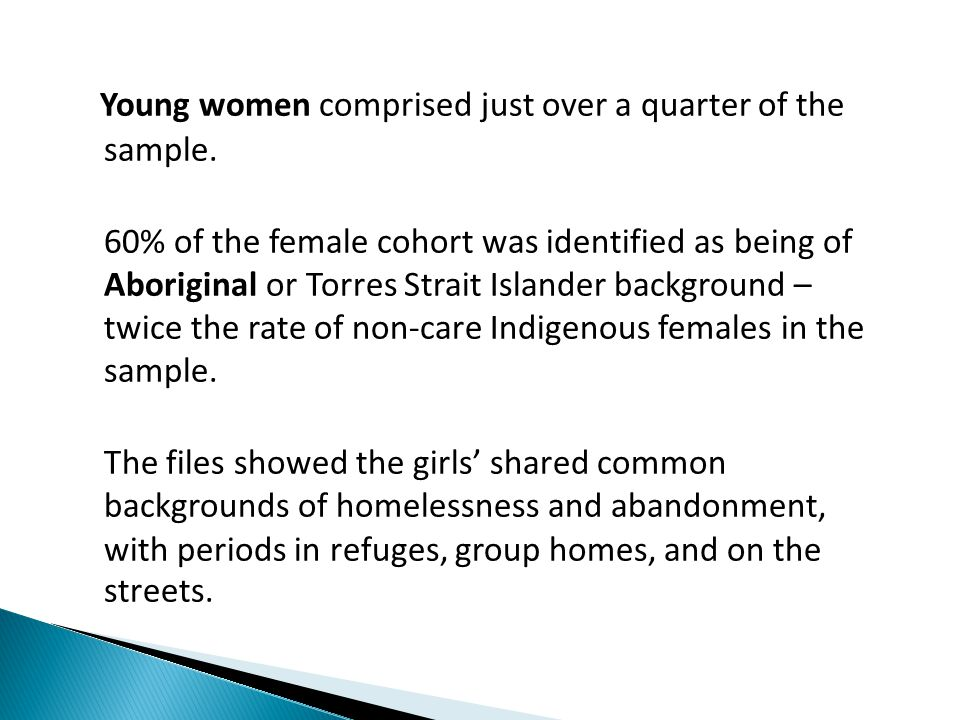 Young women comprised just over a quarter of the sample.